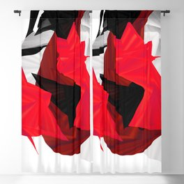 red black white silver abstract digital art Blackout Curtain