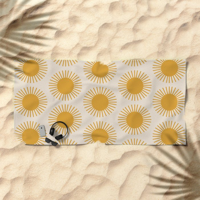 Golden Sun Pattern Beach Towel