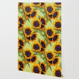 Sunflowers field yellow green rustic pattern Wallpaper