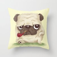 pug Throw Pillows featuring Pug by Toru Sanogawa