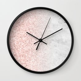 Blush Pink Sparkles on White and Gray Marble Wall Clock