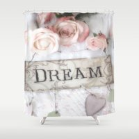 shabby chic Shower Curtains featuring Shabby Chic Dream Roses by Kathy Fornal