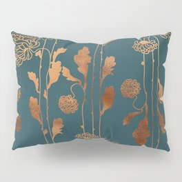 Art Deco Copper Flowers  Pillow Sham