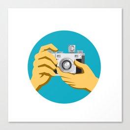 Retro 35mm Film Camera Clicking Canvas Print