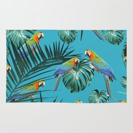 Parrots in the Tropical Jungle #2 #tropical #decor #art #society6 Rug