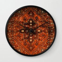 N151 - Orange Oriental Vintage Traditional Moroccan Style Artwork Wall Clock