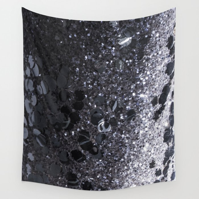 Black and Gray Glitter Bomb Wall Tapestry