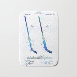 Blue Hockey Stick Art Patent - Sharon Cummings Bath Mat