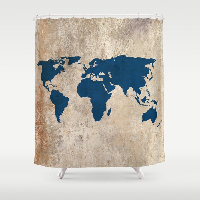 Rustic World Map Shower Curtain By Bysamantha