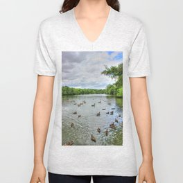 Cloudy Day at the Lake Unisex V-Neck