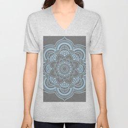 Mandala Flower Gray & Baby Blue Unisex V-Neck