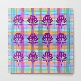 Plaid Floral Metal Print