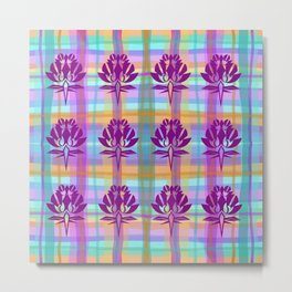 Plaid Floral Metal Print