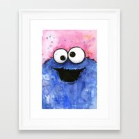 cookie monster Framed Art Prints featuring Cookie Monster by Olechka