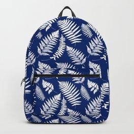 Woodland Fern Pattern, Cobalt Blue and White Backpack