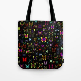 Numerous colorful butterflies on a neutral background Tote Bag