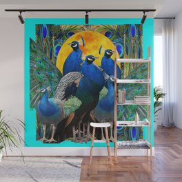 STATELY BLUE PEACOCKS FLOCK Wall Mural