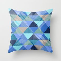 Triangles Blues Throw Pillow