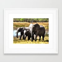 elephants Framed Art Prints featuring Elephants by Regan's World