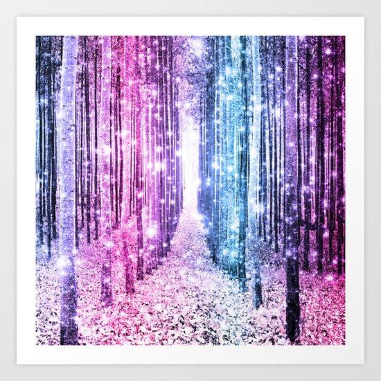 Magical Forest : Pastel Pink Lavender Aqua Periwinkle Ombre Art Print
