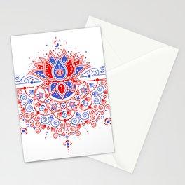 Sacred Lotus Mandala – Red & Blue Palette Stationery Cards
