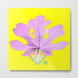 Fig Leaf Diamond Christmas Yellow Golden Metal Print