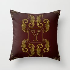 Monogram Y seahorse Throw Pillow