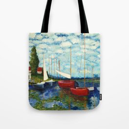 """Artistic Impression of Claude Monet's """"Red Boats at Argenteuil"""" Tote Bag"""