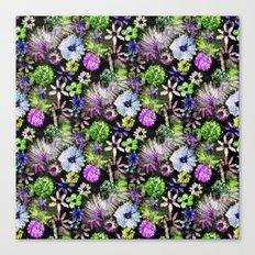 Purple Lime Floral Canvas Print