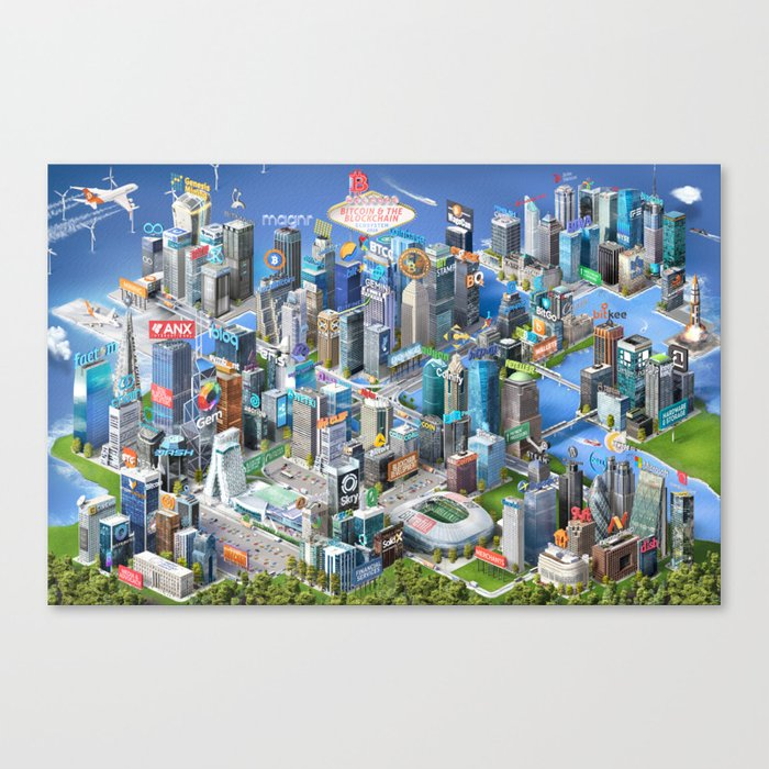 Bitcoin & the Blockchain Ecosystem Poster 2016 Canvas Print