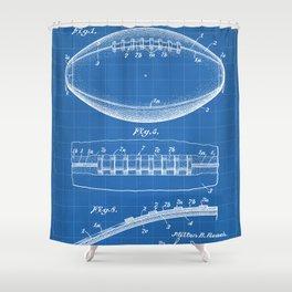 Football Patent - American Football Art - Blueprint Shower Curtain