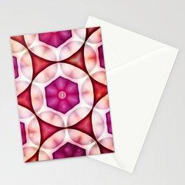 Fuschia Deep Salmon Geometrics Stationery Cards