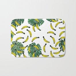 Watercolor Swiss Cheese Plant and Bananas Bath Mat