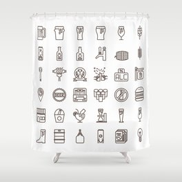 Craft Beer Icons Shower Curtain