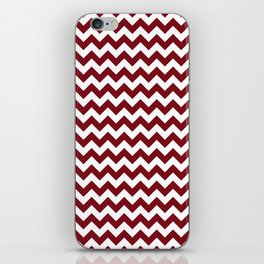 Burgundy white modern geometrical chevron pattern iPhone Skin