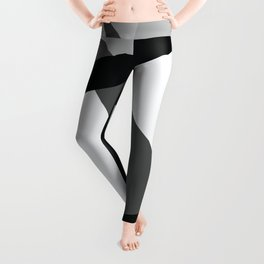 Abstract Grayscale Geometric Lines Leggings