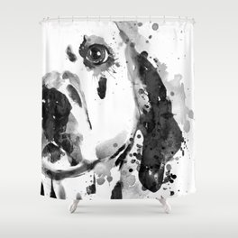 Black And White Half Faced Dalmatian Dog Shower Curtain