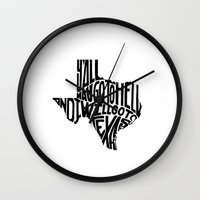texas Wall Clocks featuring Texas by Michael McKissick