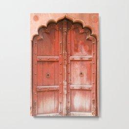 Ancient red wooden door in Agra, Uttar Pradesh, India Metal Print