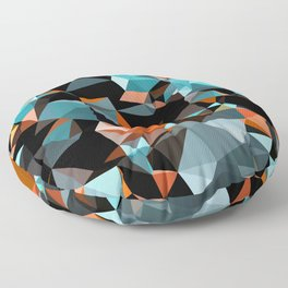 Copper Vein Abstract Low Poly Geometric Triangles Floor Pillow