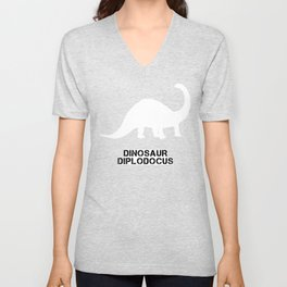 Dinosaur Diplodocus, dinosaur, lizard, typography, long-necked Unisex V-Neck