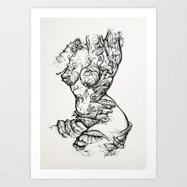 Floral Shroom Torso Pt 2 ink on white Art Print