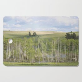 Lake and trees landscape Cutting Board
