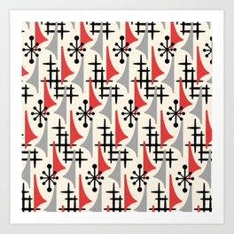 Mid Century Modern Atomic Wing Composition 234 Red and Gray Art Print