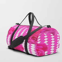 ABSTRACTED CERISE PINK ROSES GARDEN ART Duffle Bag