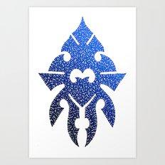 Blue tribal-esque doodle Art Print