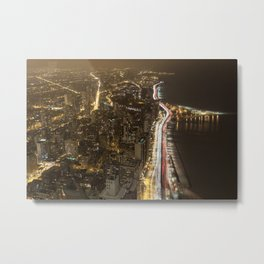 Lakeshore Chicago Night Shot Metal Print