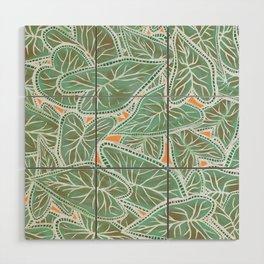 Tropical Caladium Leaves Pattern - Green Wood Wall Art