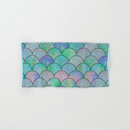 Informe Abstracta Green Fish Scale Pattern Abstract Design Hand & Bath Towel