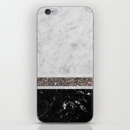 White and Black Marble Silver Glitter Stripe Glam #1 #minimal #decor #art #society6 iPhone Skin